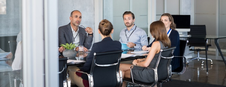 group of professionals in business meeting